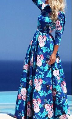 Summer: women's blue floral print maxi dress | Find fun fabrics for your next project www.myfabricdesigns.com