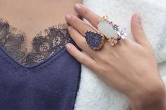 Charmeuse - Les Néréides and Cleopatra's Bling rings + lace top under a cosy jumper - Hello it's Valentine