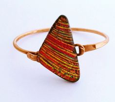 Forged Copper Bracelet with Triangle Dichroic by 3DGlassDesigns