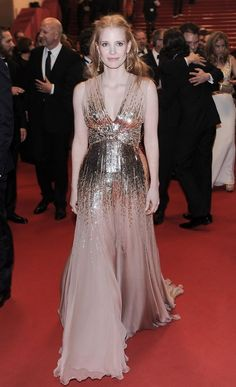 Jessica Chastain slipped on a sequinned Gucci dress and Chopard jewels...