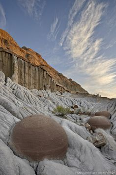 Cannon Ball Concretions in the badlands, Theodore Roosevelt National Park, North Dakota.