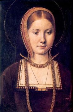 Katharine of Aragon, c1502, by Michael Sittow. This beautiful portrait was made by King Henry VII's court painter, Michael Sittow. Katharine had arrived in England in 1501 to marry Prince Arthur Tudor, the son and heir of Henry VII. They were married in November 1501 and within six months Arthur was dead. This portrait was painted after their brief marriage.