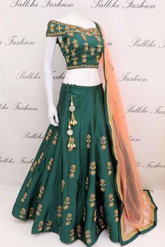 Lehenga designs by Palkhi Fashion. Recreate your closet with designer lehengas and ghaghras from famous indian designers in India. Lehnga Dress, Lehenga Blouse, Lehenga Choli, Sarees, Indian Attire, Indian Wear, Indian Dresses, Indian Outfits, Pakistani Outfits