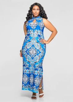 Printed Mock Neck Maxi Dress Ashley Stewart