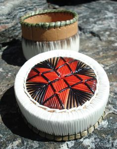 Porcupine quill basket by Cheryl Besito - red four directions