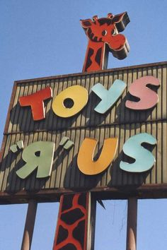 "Vintage Toys Old Toys R Us sign. Remember this jingle?: ""The world's biggest toy store is Toys 'R' Us! The biggest selection -- Toys 'R' Us! - This old Toys ""R"" Us sign is gone. Anaheim, CA 90s Childhood, My Childhood Memories, School Memories, 80s Kids, 90s Kids Toys, 80 Toys, 1990s Toys, Children Toys, Toddler Toys"