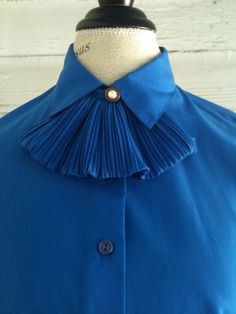Vintage Blouse  1980s Royal Blue Blouse by runaroundsuevintage, $24.00