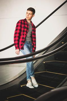 """menoflookbook: """"06. August (by Romano Ross) """" Red Black Check Shirt, Flannel Outfits, Red Flannel, Outfits Hombre, Moda Chic, Denim Jacket Men, Latest Mens Fashion, Men Style Tips, Mens Clothing Styles"""