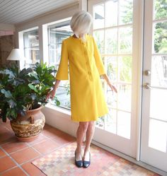 Vintage Carl Naftal Originals California yellow mod dress a-line three quarter sleeve gogo poly blend knit: small by BopandAwe on Etsy