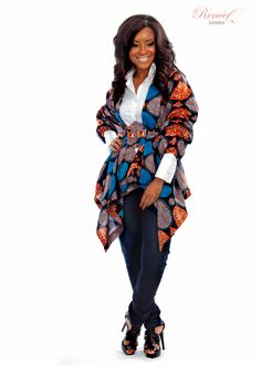 The kimono jacket by Renée Q Ghana African Dresses For Women, African Wear, African Women, African Clothes, African Fashion Designers, African Inspired Fashion, Ghana Fashion, Bold Fashion, African Models