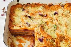 Add some colourful vegies to your potato bake and try this sweet potato bake for a healthier side dish. Vegetable Pie, Vegetable Dishes, Vegetable Recipes, Vegetarian Recipes, Veggie Lasagna, New Recipes, Cooking Recipes, Favorite Recipes, Savoury Slice