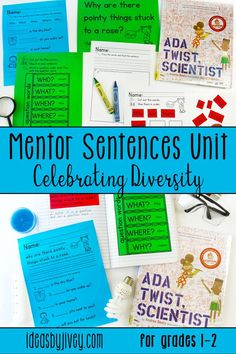 Mentor sentences are the perfect way to teach grammar and author's craft through examples of excellent sentences from your favorite read-aloud books! This resource is just what you need to implement mentor sentences in your classroom with diverse books! Each of the 10 lessons includes the teacher sentence page, the student sentence page, a lesson plan page with possibilities for all 4 days, and a quiz aligned with CCSS with answer key. #mentortexts #mentorsentences #weneeddiversebooks