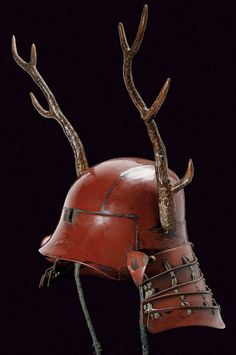 helmet, Kabuto 兜 Reminds me of (Also has a samurai armour in his bedroom). Japanese Warrior, Japanese Sword, Japanese Blades, Samurai Helmet, Samurai Swords, Arm Armor, Body Armor, Japanese Culture, Japanese Art