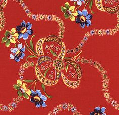 Summer Cottage Fabric - Red - Gerri Robinson - Red Rooster