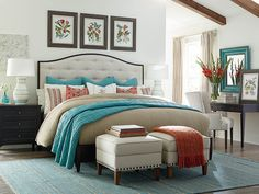 Commonwealth Upholstered Bed by Bassett Furniture is available in three different finishes.