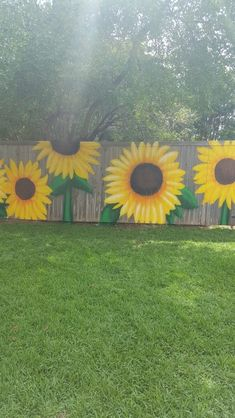 sunflowers painted on my fence.fun time