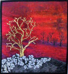 Embellished Art Quilts | Fiber Art Quilt Contemporary Landscape, Embellished and Thread Painted