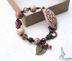 Rosegarden  Old rose/soft pink bracelet with by esferajewelry, $45.00