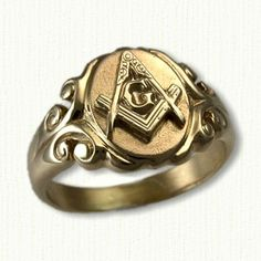 Antique Style Masonic Signet Ring , Shown in yellow gold-Available In Sterling Silver and All Other Metals Platinum Wedding Rings, Silver Wedding Bands, White Gold Wedding Rings, Stylish Rings, Unique Rings, Freemason Ring, Cool Rings For Men, Masonic Jewelry, Wedding Ring For Him