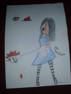 Alice com sua cabecinha desmiolada ( estava com sono quando desenhei isso )