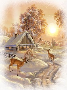me ~ Pin on Christmas ~ Deer in the snow with a cabin lodge at the back. The sun is shining, smoke is comming out of the chimney. Vintage Christmas Cards, Retro Christmas, Christmas Art, Winter Christmas, Christmas Morning, Christmas Decorations, Christmas Scenery, Winter Scenery, Christmas Pictures