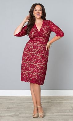 Here is a feminine and so flattering Boudoir Lace red party dress from Kiyonna! It's Kiyonna's Boudoir Lace style dress in Plus Size Vestidos Plus Size, Plus Size Prom Dresses, Plus Size Outfits, Wrap Dresses, Lace Dresses, Plus Size Evening Gown, Plus Clothing, Travel Clothing, Size Clothing