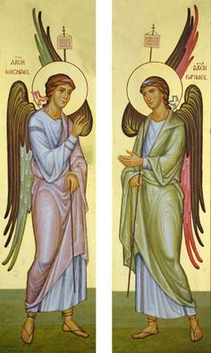 Archangels Michael and Gabriel, inside the doors of the tabernacle of Silverstream Monastery, Ireland - Aidan Hart Sacred Icons Michael Gabriel, Byzantine Icons, Byzantine Art, Religious Icons, Religious Art, Mary Magdalene And Jesus, Archangel Raphael, Queer Art, Art Icon