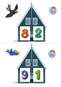 * Vrienden van 10! 5-6 kleuteridee.nl, free printable, Twee halve huizen aan elkaar, is precies 10 bij elkaar