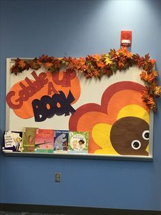 Library bulle board - Thanksgiving I think we could do a them November Bulletin Boards, Elementary Bulletin Boards, Thanksgiving Bulletin Boards, Halloween Bulletin Boards, Thanksgiving Books, Reading Bulletin Boards, Thanksgiving Preschool, Bulletin Board Display, Elementary Library