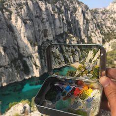 miniature landscapes painted inside mint tins by heidi annalise 13 15 Miniature Landscapes Painted Inside Mint Tins Painting Inspiration, Art Inspo, Art Sketches, Art Drawings, Art Du Croquis, Mint Tins, Tin Art, Guache, Art Hoe