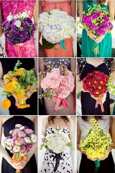 Mismatched wedding florals! Who says they have to match? They could all be a little different.