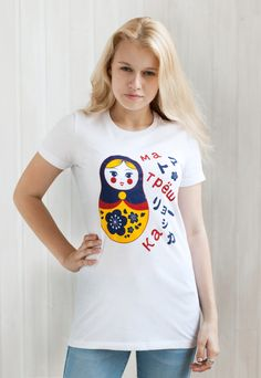 Sakura Matryoshka - Russian Doll - Women's / Ladies T Shirt.  Russian doll with sakura flowers - a cross-culture mash-up of two kawaii images. #japanese #japan #kawaii #tshirt #t-shirt #hiragana #kanji #anime #manga #ladies #print #retro #soviet #ussr #russian #cccp #russiandoll | Screen printed in England on Superior Pre-Shrunk cotton T Shirt | by StrandClothing | on Etsy