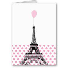 Eiffel Tower Pink Balloon Polka Dot Card