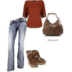 """Brown red & denim"" by mandys120 on Polyvore"