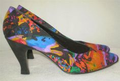 Vtg 80s 90s Stuart Weitzman Pumps Watercolor Abstract Fabric Colorful 6 #StuartWeitzman #PumpsClassics #Party