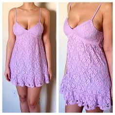 NWOT Lavender Lace Dress Lavender dress with lace detail, spaghetti straps and a flared hem. No rips. No stains. Hollister Dresses Mini