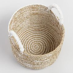 Charming form meets handy function in our small Bianca basket, handwoven in Indonesia of seagrass in a chic white and natural striped design. Bamboo Basket, World Market, Stripes Design, Hand Weaving, Sweet Home, Blue, Candle, House Beautiful, Weaving