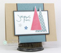 Hand stamped Christmas card by Jen Mitchell using the Joyous Noel set from Verve. #vervestamps