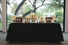 Black, White and Gold Sweetheart Table