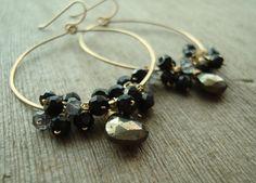 Pyrite Black Onyx Iolite Gold Hoop Earrings  by shimmerjewels, $50.00