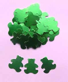 100 Die Cut Teddy Bears  Shiny Emerald Green by SunnyCollectables, £1.50