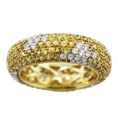 18K Yellow Gold Pave Diamond and Yellow Sapphire Eternity Ring