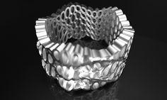 $86.00 sine cosine geometry ring 3d print silver metal