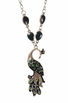 From Paris with Love! - 20s Art Nouveau Peacock bronze necklace ketting