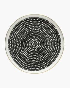 This gold-trimmed salad plate is made of white stoneware and decorated with the black and white Siirtolapuutarha pattern. In we celebrate the anniversary of the popular Siirtolapuutarha pattern which was designed by Maija Louekari as well as th Marimekko, Black And White Plates, Black White, Newlywed Gifts, Cushion Fabric, Bold Prints, Salad Plates, Ceramic Plates, Home Buying