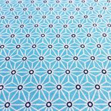 Tissu de coton japonais Saki - Motif Asanoha bleu d'eau et blanc