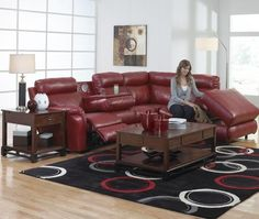 Catnapper Chastain 3 Piece Sectional in Red