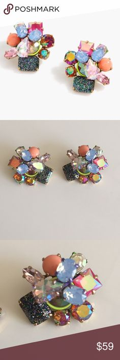 Offers -J Crew Bright Multi Studs I will ACCEPT reasonable offers on this item.  Color: Multi, Glitter, Iridescent   Size: Same Size as a Quarter  Condition: Worn once; Minor wear on plating (from age) and possible hairline scratches  Purchased: At J Crew Retail a few years ago NOT Factory  Please NO extreme low ballers. Poshmark takes 20% commission. J. Crew Jewelry Earrings