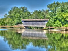 Covered Bridge at Mill Race Park in Columbus Indiana, This Town Despite Its Small Size Has Amazing Historical Features
