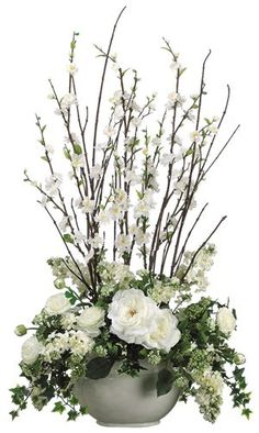 321 best classic white and green flowers images on pinterest in 2018 cherry blossom roseranunculus faux flower arrangement mightylinksfo